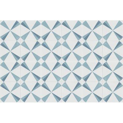 Polaris Azul 8 x 8 Cement Field Tile in Blue/White