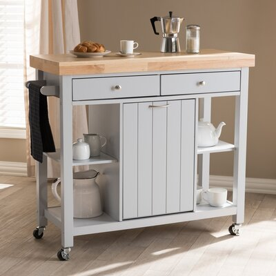 Witkowski Homer Kitchen Cart with Wood Top