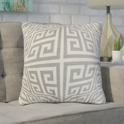Dufault Greek Key Throw Pillow Cover Color: Ash