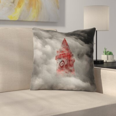 Square  Watercolor Gothic Clocktower Throw Pillow Size: 14 x 14