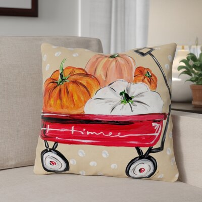 Fall Wagon Throw Pillow Size: 16 x 16