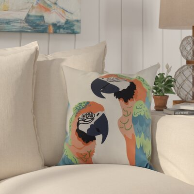 Faynett Macaw Close Up Indoor/Outdoor Throw Pillow Color: Orange, Size: 16 x 16