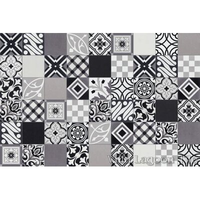 Patchwork Evening 8 x 8 Cement Field Tile in Black/White
