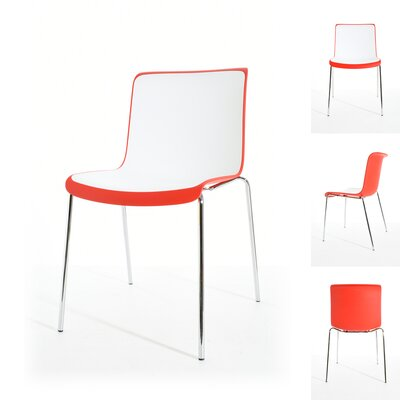 Sigmund Dining Chair Color: Red/White/Chrome
