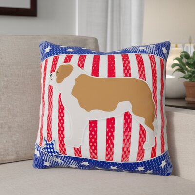 Patriotic Blue/Red Neutral Indoor/Outdoor Throw Pillow Size: 14 H x 14 W x 3 D