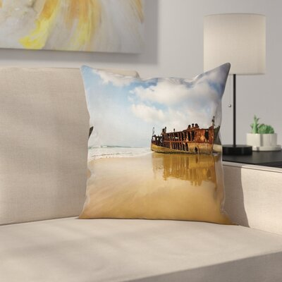 Beach Antique Rusty Ship Wreck Square Pillow Cover Size: 16 x 16