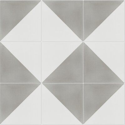 Man Overboard Featherstone 8 x 8 Cement Field Tile in Gray/White