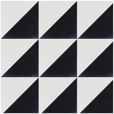 Man Overboard 8 x 8 Cement Field Tile in Black/White