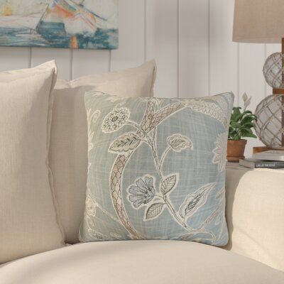 Lincya Floral Cotton Throw Pillow Color: Mineral