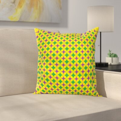 Mardi Gras Retro Pattern Stars Square Cushion Pillow Cover Size: 18 x 18