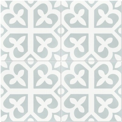 Lucky 8 x 8 Cement Field Tile in White/Green