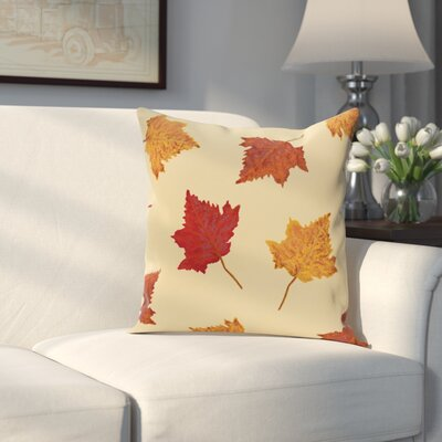 Dancing Leaves Flower Print Throw Pillow Size: 18 H x 18 W, Color: Gold