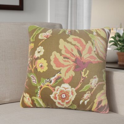 Brisson Floral Cotton Throw Pillow Color: Chocolate/Brown