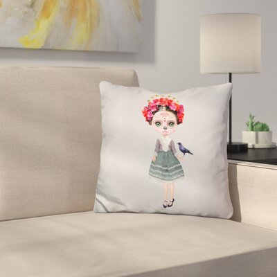 Sq Miss Abby Sugar Skull Throw Pillow