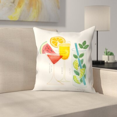 Summer Cocktails Throw Pillow Size: 16 x 16