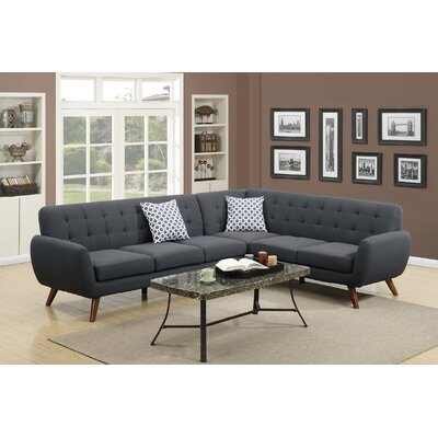 Cowart Reversible Sectional Upholstery: Ash Black