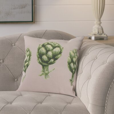 Kaylor Artichoke Indoor/Outdoor Throw Pillow Color: Pale Pink, Size: 18 x 18