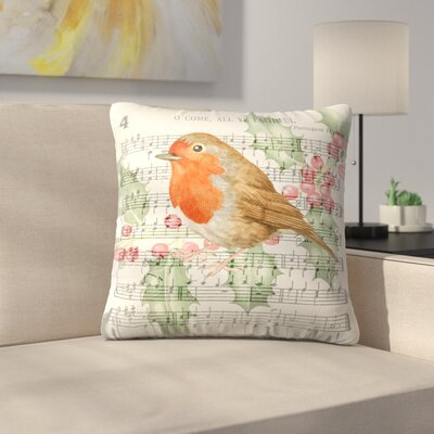 Robin Music Card 3 Throw Pillow Size: 18 x 18