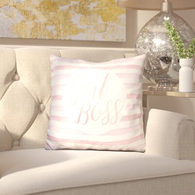 Jessenia Girl Boss on Stripe Rose Throw Pillow Color: Pink