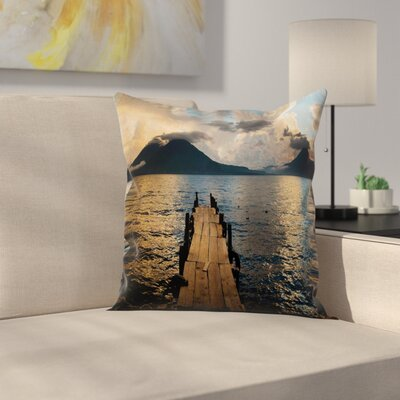 Wooden Pier on Lake Cushion Pillow Cover Size: 24