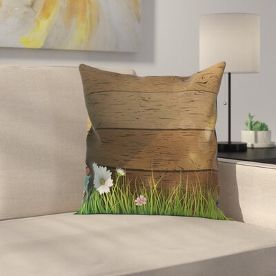 Flower Chamomile Field Grass Square Pillow Cover Size: 24 x 24