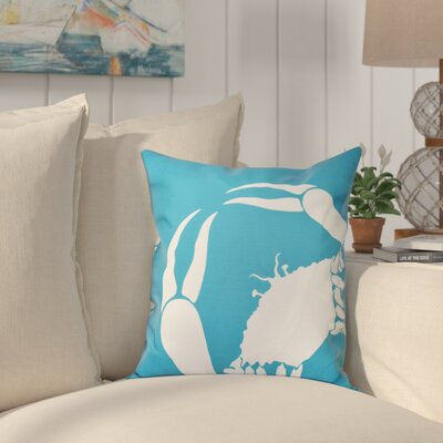 Shirley Mills Crab Outdoor Throw Pillow Size: 20 H x 20 W, Color: Turquoise