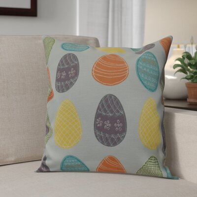 Funky Junky Eggs-ellent! Throw Pillow Size: 18 H x 18 W, Color: Aqua