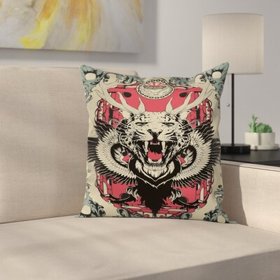 Leopard Head Horns Wings Square Pillow Cover Size: 16 x 16