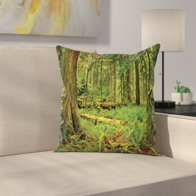 Forest Woodland Bushes Moss Square Pillow Cover Size: 16 x 16