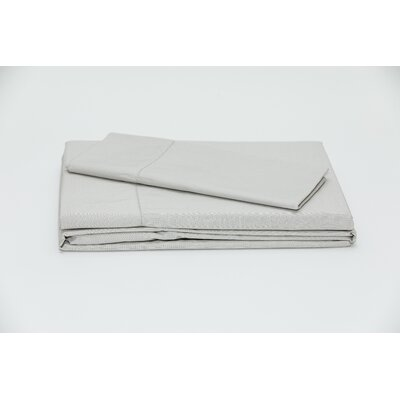 Eugene 250 Thread Count 100% Cotton Sheet Set Color: Light Gray, Size: Queen