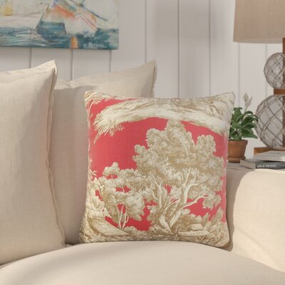 Nataliya Toile Cotton Throw Pillow Color: Red