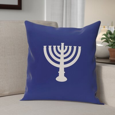 Holiday Geometric Print Menorah Major Throw Pillow Size: 16'' H x 16'' W, Color: Blue