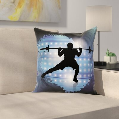 Fitness Wightlifter Silhouette Square Pillow Cover Size: 24 x 24