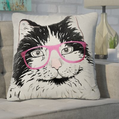 Candace Long Hair Cat with Glasses Throw Pillow