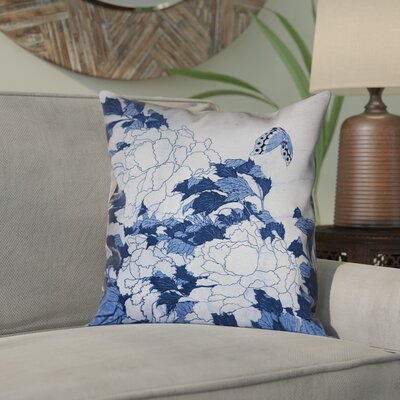 Clair Peonies and Butterfly Indoor Square Pillow Cover Size: 26 H x 26 W, Color: Blue