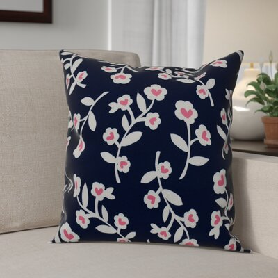 Valentines Floral Throw Pillow Size: 18 H x 18 W, Color: Navy Blue