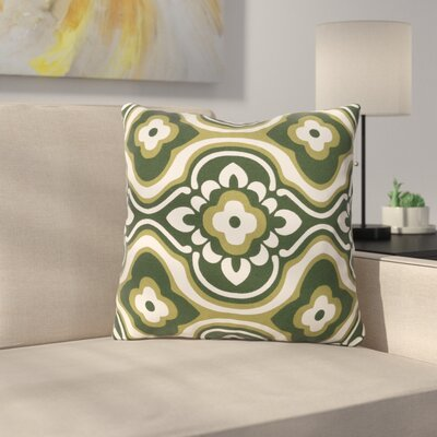 Murrin Cotton Throw Pillow Color: Olive/ White