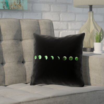 Enciso Moon Phase Square Pillow Cover Color: Green, Size: 14 x 14