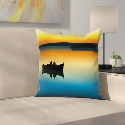 Nature Sunset at Lake Fishing Square Pillow Cover Size: 16 x 16