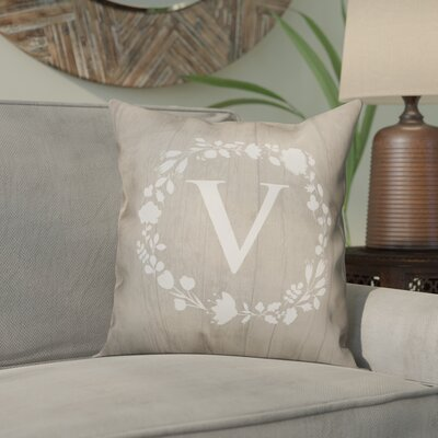 Orme Wreath Monogram Throw Pillow Letter: V