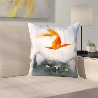 Fish Supper Throw Pillow Size: 14 x 14