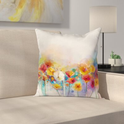 Gerbera Flower Bouquet Square Pillow Cover Size: 18 x 18