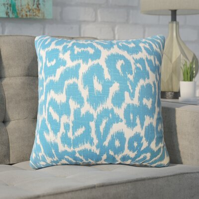 Wetzler Ikat Down Filled Linen Throw Pillow Size: 20 x 20, Color: Cadet