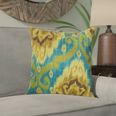 Bettembourg Ikat Cotton Throw Cushion Color: Peacock, Size: 18 H x 18 W