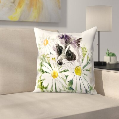 Raccoon 2 Throw Pillow Size: 18 x 18