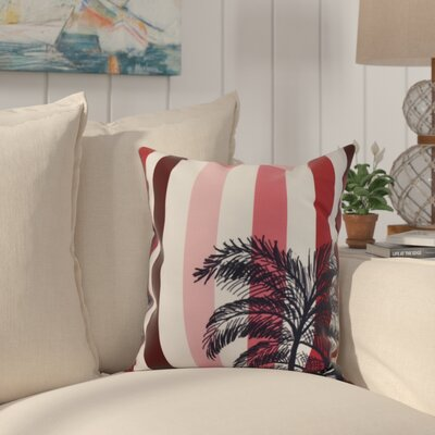 Johannes Stripe Palm Indoor/Outdoor Throw Pillow Color: Red, Size: 18 x 18
