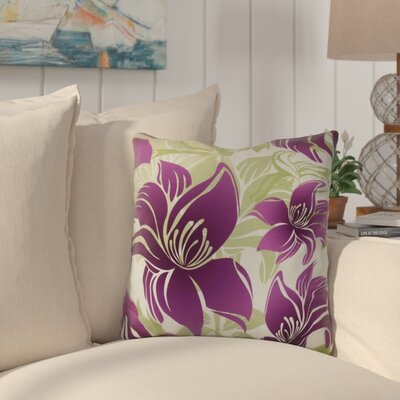 Costigan Tree Mallow Floral Print Throw Pillow Size: 16 H x 16 W x 3 D, Color: Purple
