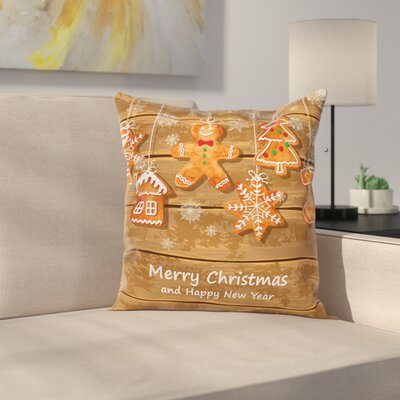 Gingerbread Man Watercolor Fun Square Pillow Cover Size: 18 x 18
