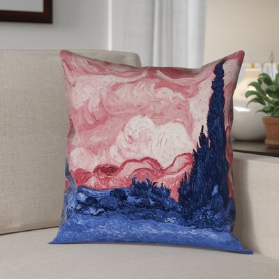 Lapine Wheatfield with Cypresses Square Linen Pillow Cover Color: Red/Blue, Size: 18 x 18