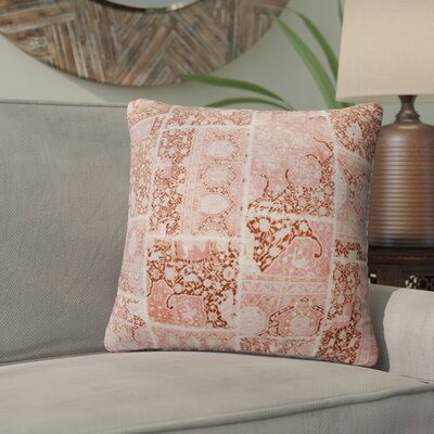Duane Patchwork Throw Pillow Size: 24 H x 24 W x 6 D, Color: Peach/ Ivory